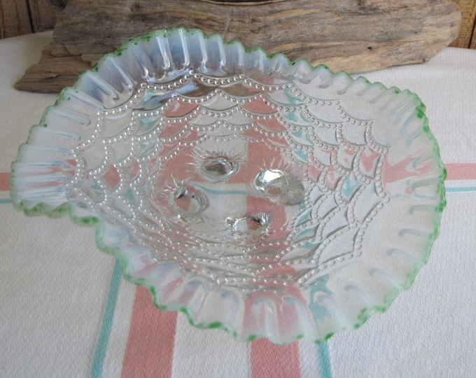 Northwoods Green Opalescent Bon Bon Dish Footed Candy Dish Vintage Home Decor and Entertaining
