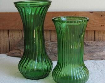 Vintage Emerald Green Hoosier Glass Vase Small Flower Vase Florist Ware Bouquets