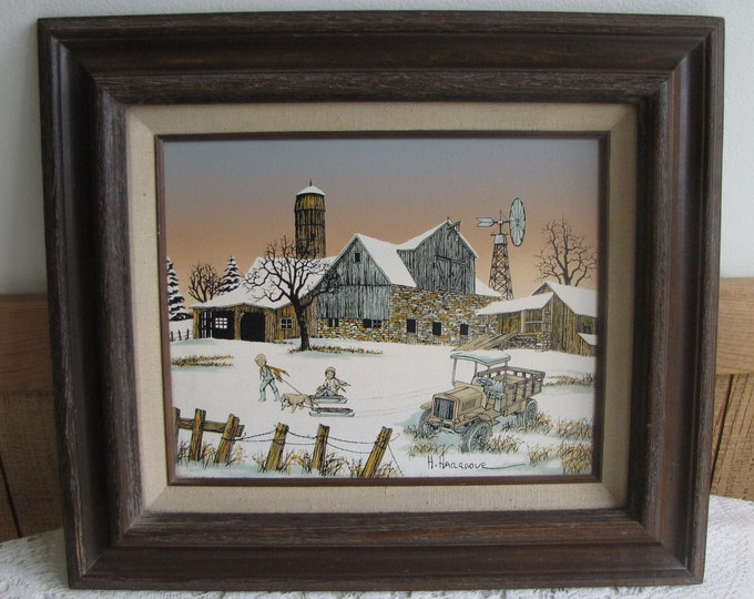 H. Hargrove Oil Painting Dog Goes Sledding Americana Collection Vintage Art and Home Decor Limited Edition Home Galleries