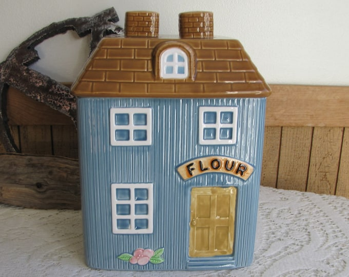 Blue Four Canister Hearth & Home Designs Vintage Kitchens and Storage