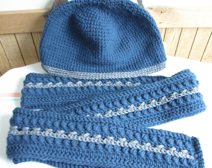 Colonial Blue Winter Scarf and Hat Irish Pattern and Beanie 100% Acrylic Yarn