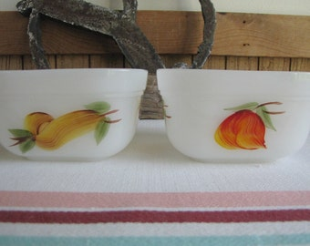 Fire King Fruit Small Bowls Vintage Dinnerware and Replacements Two (2) Refrigerator Bowls 1957 - 1968