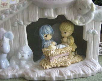 RESERVED for KATHY--Precious Moments I Believe in Jesus Nativity Night Light Retired Collectible Figurines 1995