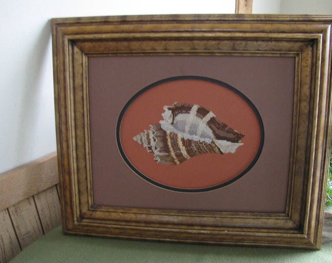 Vintage Cross Stitched Picture Embroidered Conch Shell Framed Wall Hanging Nautical Beach Seashells