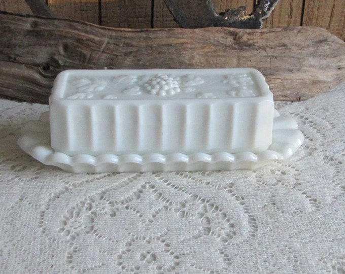 Westmoreland Milk Glass Butter Dish Paneled Grapes Vintage Dinnerware and Replacements Imperfections