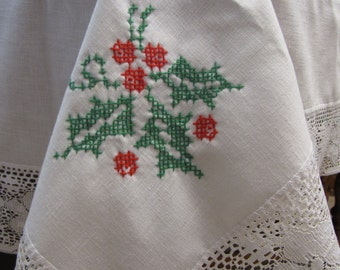 Christmas Cross Stitch Tablecloth Lace Trimmed with Holly and Leaves Christmas Decor Vintage Linens
