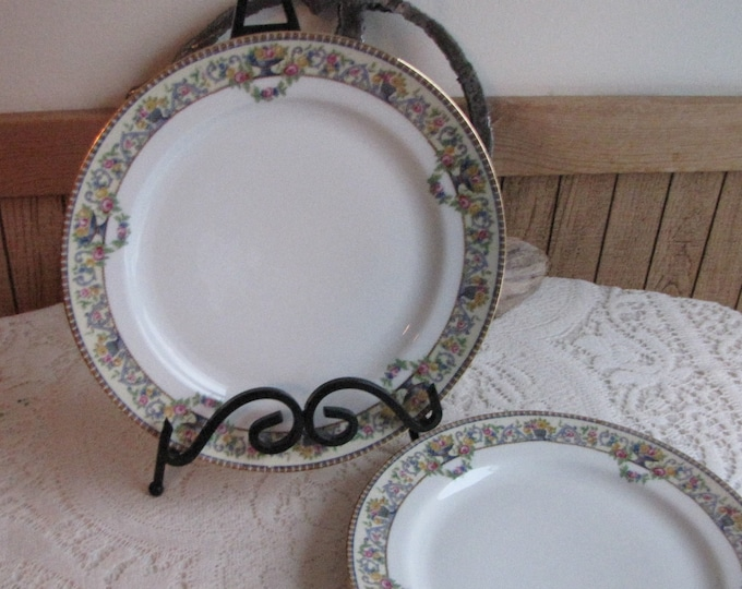 Bawo & Dotter Dinner Plates Circa 1920s Art Deco Vintage Dinnerware and Replacements Set of Two (2) Dinner Plates