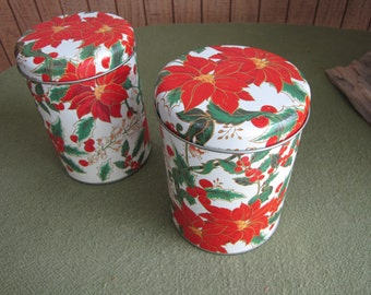 Vintage Christmas Tins Two (2) Small Poinsettia Holiday Tins