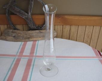 Etched Glass Bud Vase Vintage Florist Ware