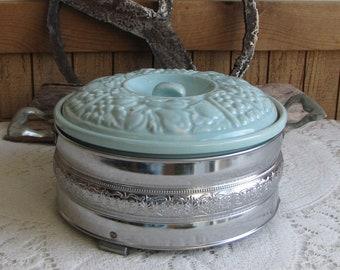 Blue Pottery Casserole U.S.A Vintage Ovenware F-13