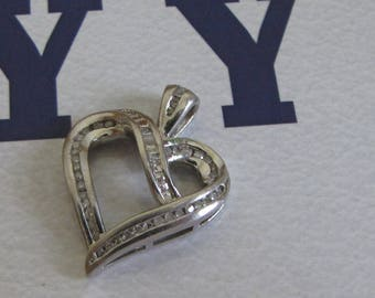 Silver and Diamonds Heart Pendant Sterling Silver 925 Vintage Jewelry and Accessories