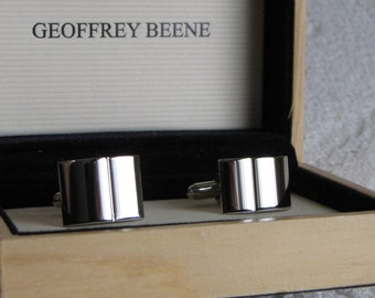 Geoffrey Beane Silver Toned Cuff Links Vintage Men's Jewelry and Accessories
