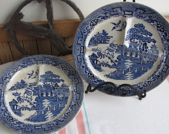 Blue Willow Grill Plates England Antique Dinnerware and Replacements Imperfections Set of Two (2)