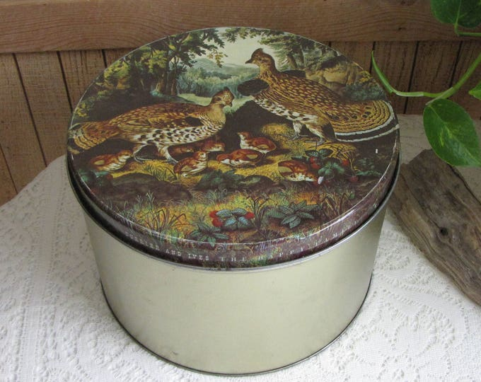 Maurice Lenell and Currier and Ives Tin Large Vintage Pheasant Scenic Design