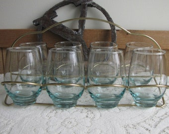 Mid Century Barware Blue Glasses and Brass Carrier Vintage Drink and Barware