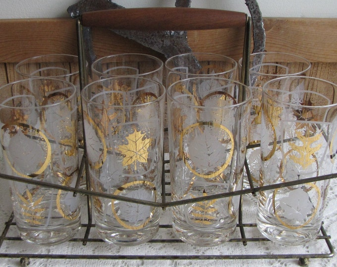 Vintage highball glasses with brass rack mid century set of 8