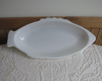 Glasbake Milk Glass Fish Platter Vintage Kitchens and Serving Dish