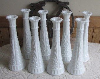 Milk Glass Vases Set of Eight (8) White Bud Vases Vintage Florist Ware