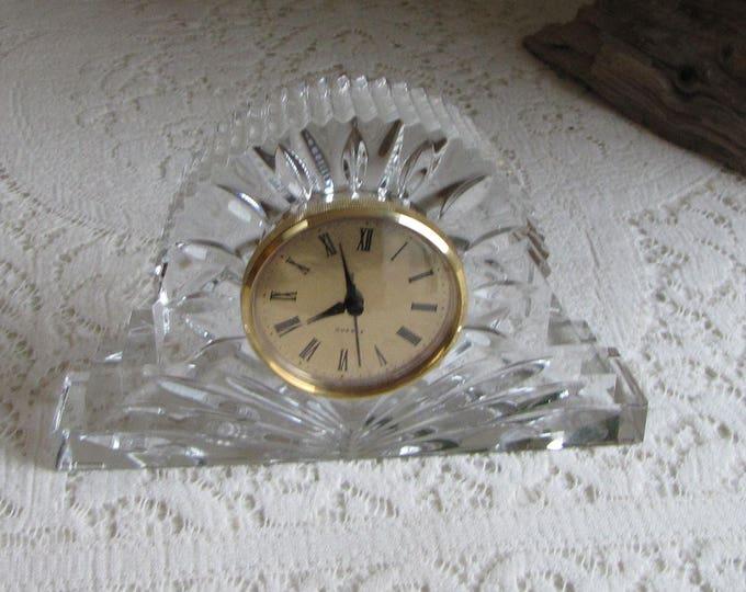 Czech Crystal Mantel Clock Quartz Clock and 24% Lead Crystal Vintage Timepieces