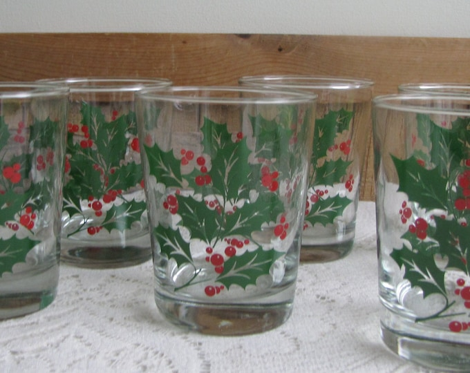 Christmas Old Fashioned Glasses Holly by Indiana Glass Set of Six (6) Two Boxes Available Vintage Holiday Drink and Barware