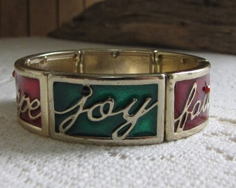Christmas Bracelet Hope Joy Faith Expanded Paneled Vintage Women's Holiday Jewelry and Accessories