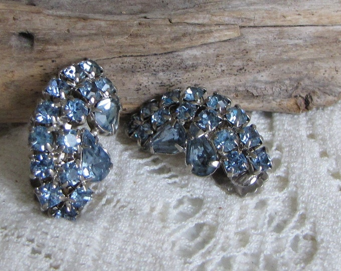 Ice Blue Rhinestones Earrings Clip-On Vintage Jewelry and Accessories