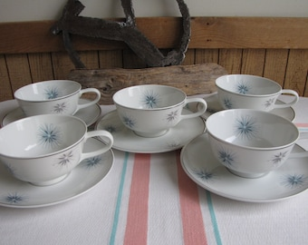 Easterling Celestial cups and saucers 1950s set of 5 Vintage Dinnerware and Replacements