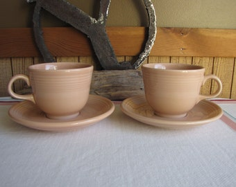 Fiesta Apricot Cups and Saucers 2 Sets 1986-1998 Vintage Dinnerware and Replacements