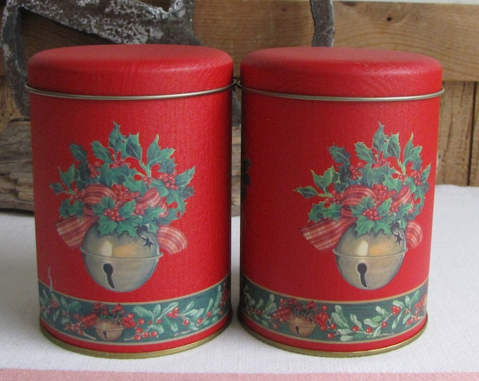 Vintage Christmas Tins Red and Bells Set of Two (2) Small Holiday Containers