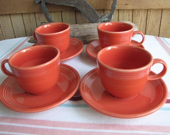 Vintage Fiesta Persimmon cups and saucers Homer Laughlin 1989 4 sets