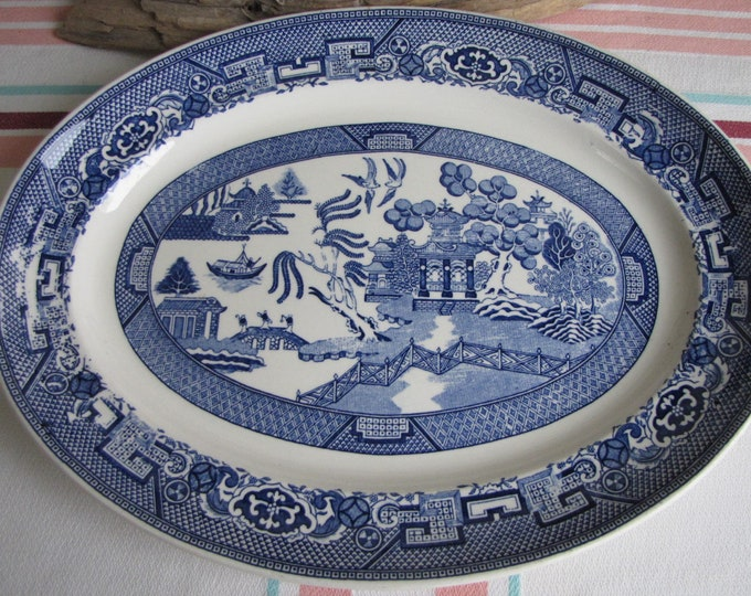 Blue Willow Ware Platter Homer Laughlin Vintage Dinnerware and Replacements 1947-1967