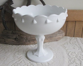 Milk Glass Teardrop Compote Indiana Glass Co. 1950 to 1980s Vintage White Home Decor