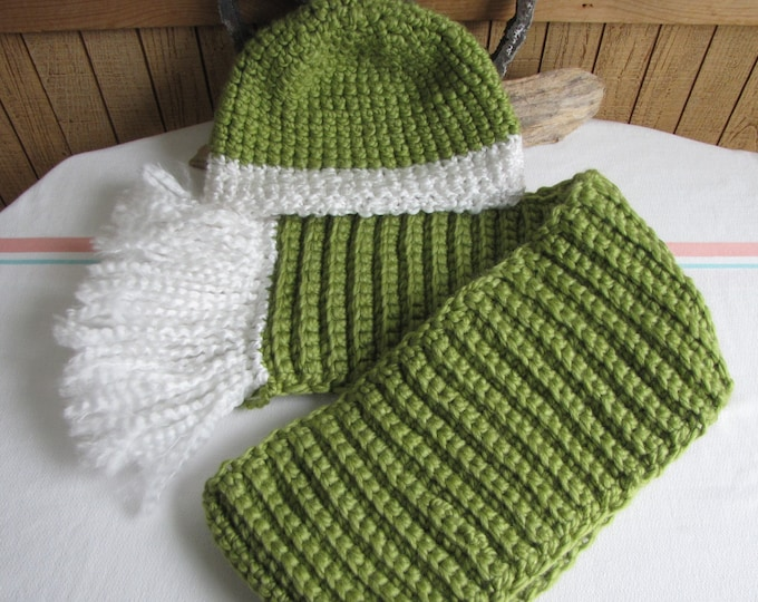 Crocheted Winter Scarf and Hat Set Spearmint Green Wool Blend