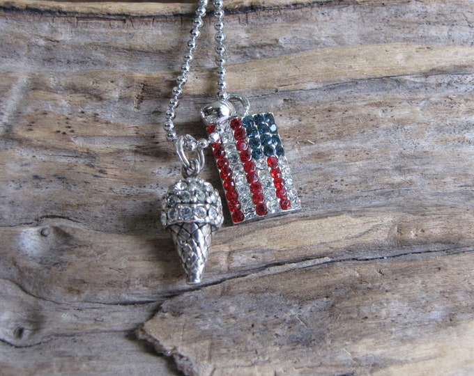 Patriotic Charm Necklace Ice Cream Cone and American Flag Charms Vintage Jewelry and Accessories