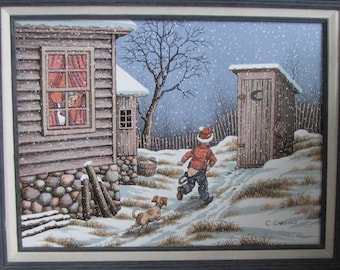 Winter Oil Painting Americana Farmhouse and Home Décor C. Carson Artist