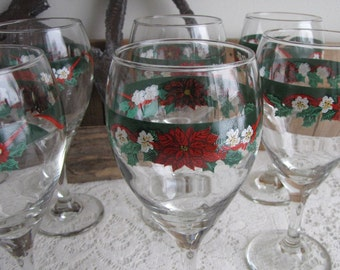 Deck the Halls Water Goblets Tienshan China Vintage Christmas Drink and Barware Set of Eight (8)