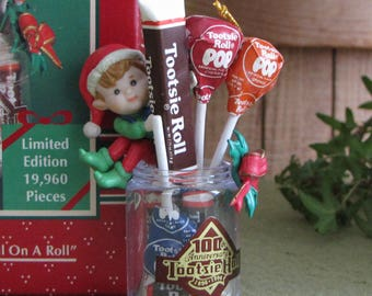 "Vintage Enesco Ornament ""100 Years…And Still On a Roll"" Tootsie Roll Limited Edition 1996"