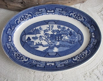 Blue Willow Platter Homer Laughlin Vintage Dinnerware and Replacements Chinoiserie
