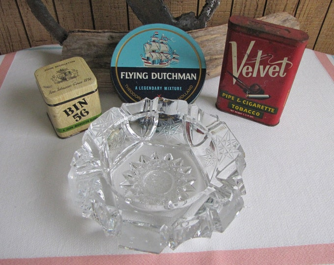 Vintage Tobacco Tins (3) and Crystal Ashtray Tobacconist