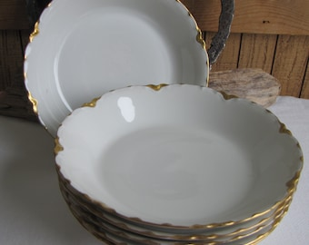 Haviland Ranson Coupe Bowls Vintage Dinnerware and Replacements Gold Trim Set of Six (6) Bowls Circa 1920s