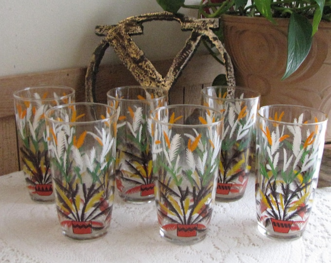 Tropical Plant Tumblers Exotic Plants Vintage Drink and Barware Set of Six (6) Glasses