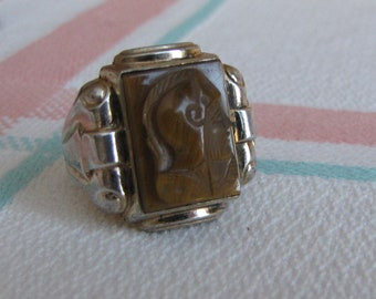Sterling Silver Men's Ring Knight Stone Size 13 Vintage Men's Jewelry and Accessories