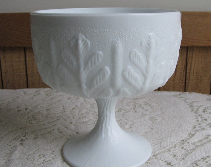 FTD Milk Glass Planter White Compote Vintage Home Decor and Florist Ware 1978