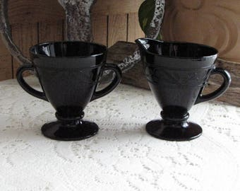 Hazel Atlas Black Cloverleaf Sugar Bowl and Cream Pitcher 1930-1936 Depression Glass Vintage Dinnerware and Replacements Six Sets Available