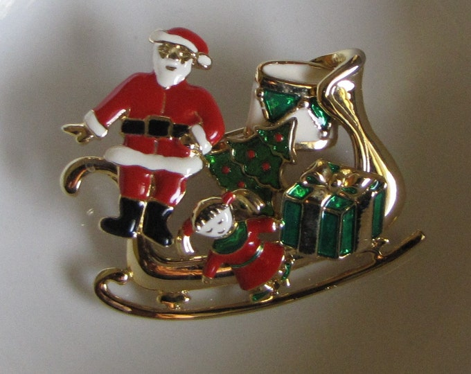 Santa's Sleigh with Removeable Pieces Brooch Vintage Holiday Jewelry and Accessories
