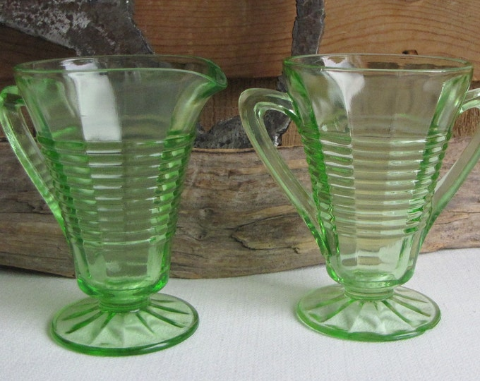 Green Depression Glass Cream and Sugar Bowl Anchor Hocking Circle Vintage Dinnerware and Replacements 1930 to 1935 Imperfections
