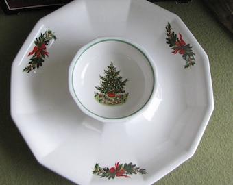 Pflatzgraff Christmas Heritage Chip and Dip Bowls Tree Pattern Octagon Holiday Platter