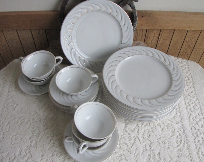Gold Swirl Luncheon Plates (8) and Cups and Saucers (7) Occupied Japan 15 Pieces Vintage Dinnerware and Replacements