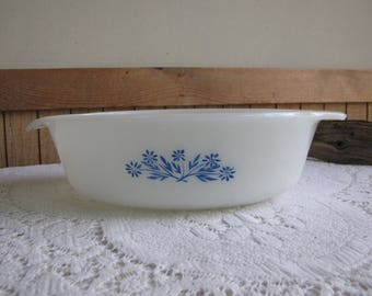 Fire King Blue Cornflower Casserole Dish Anchor Hocking White 1.5 Quart Circa 1970s Vintage Kitchen and Ovenware