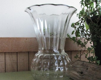 Vintage Clear Glass Vase Pineapple Styled Flared Anchor Hocking Vintage Florist Ware